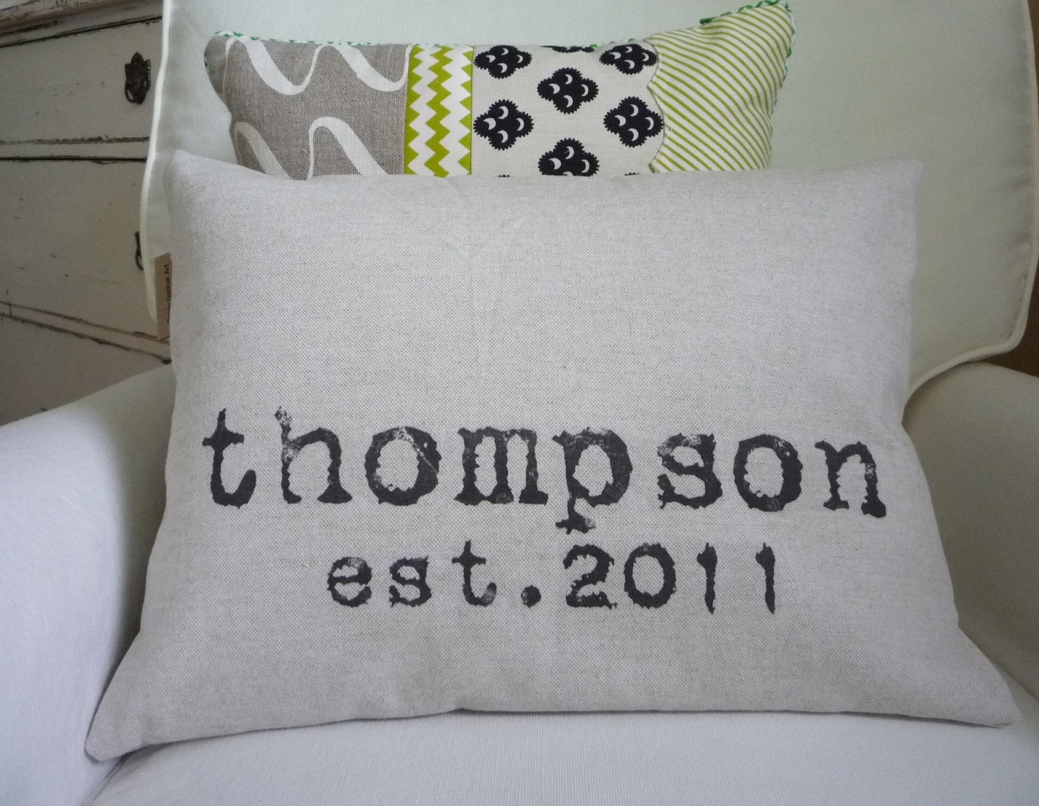 Personalized Pillow Cover Custom Wedding Gift and Family Name Modern Design