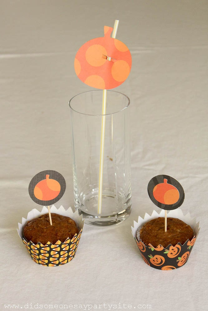 Handmade Halloween Pumpkin Cupcake Wrappers, Cupcake Toppers and Straw Toppers - FREE SHIPPING