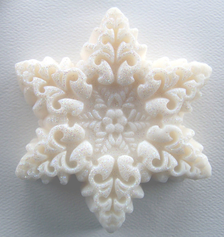 Snowflake Soap - white soap - soap - winter soap - Christmas soap - Peppermint Soap - Stocking Stuffer Soap - Gift soap - Holiday - mandalarain