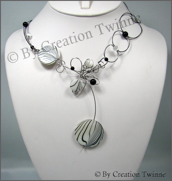 white and black stripe sea shell necklace onyx aate swirls bridesmaids