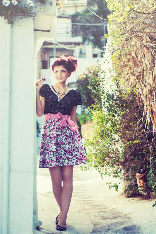 Black and white polka dot V neck/back Dress //  Full Floral skirt part// S,M,L - chrystalshop