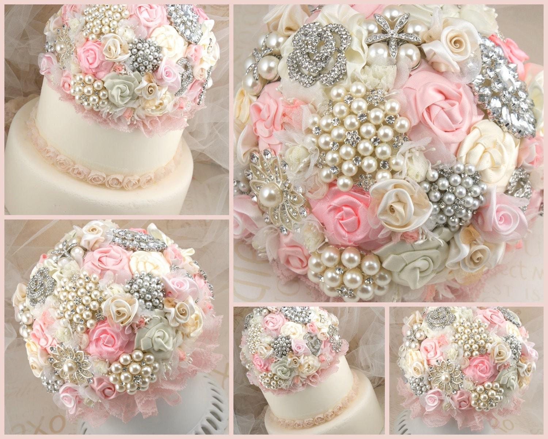 Торт Топпер-Jeweled, брошь Свадебный Topper в крем, слоновая кость и розовый с цветами ручной работы и броши