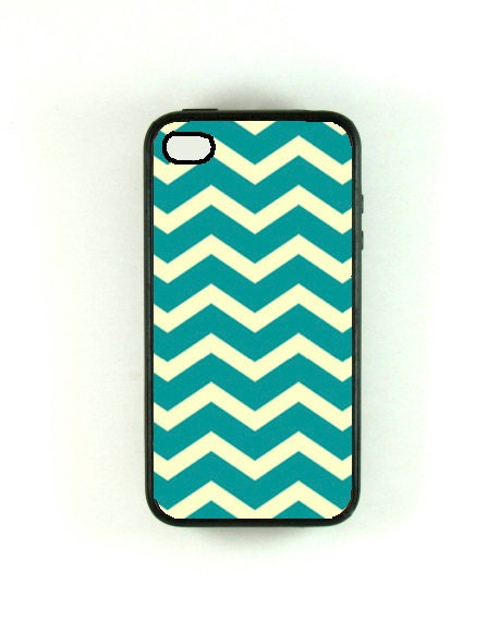 Iphone 4 Case - Teal Chevron Iphone Case, iphone 4s case, iphone 4 cover, iphone 4s cover - fundakcases