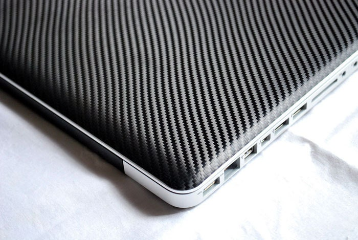 MacBook Pro or Air Black Carbon Fiber Skin FULL COVERAGE (Front, Keyboard & Bottom) by iCoverSkin