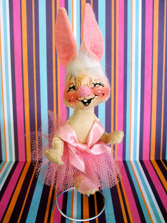 Vintage  Kitsch Early Annalee Pink Bunny in TuTu  Rabbit  Felt Stuffed Plush