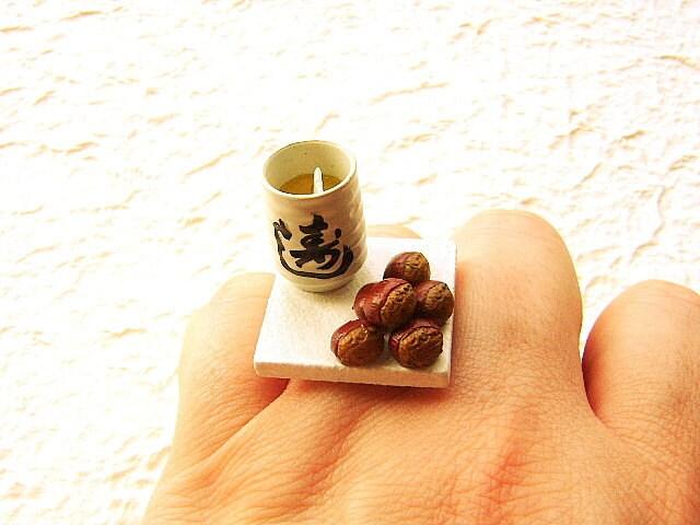 Kawaii Симпатичные японские кольца зеленого чая Кубок и каштаны