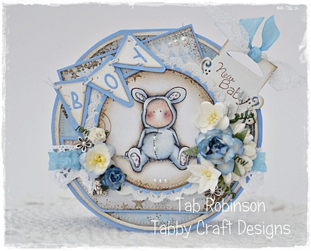 OOAK Magnolia Round Baby Boy Vintage Style Stitched Handmad Card - by Tab Robinson