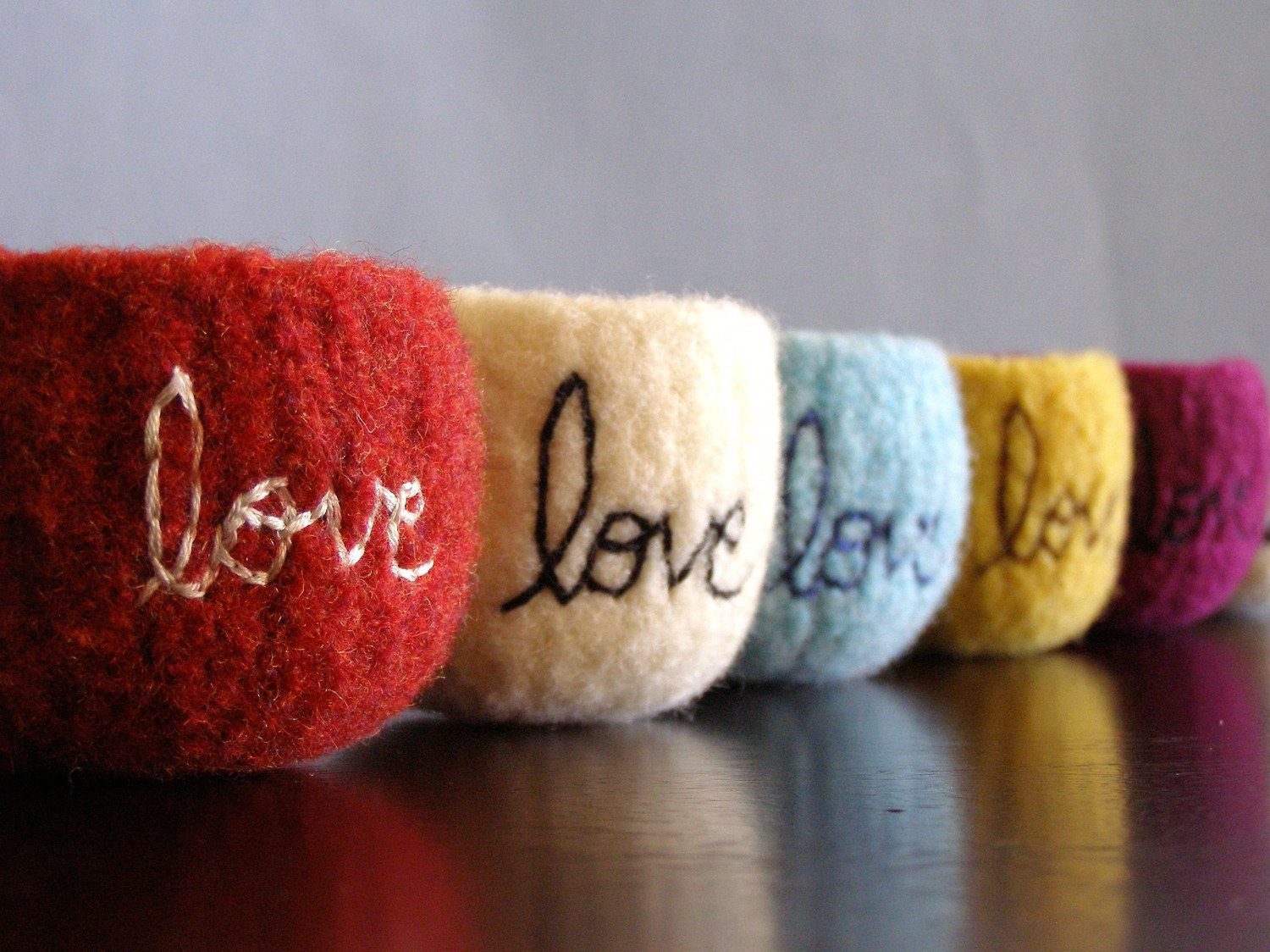 "choose your colors - custom tiny felted wool bowl with ""love"" embroidered in cotton - theFelterie"