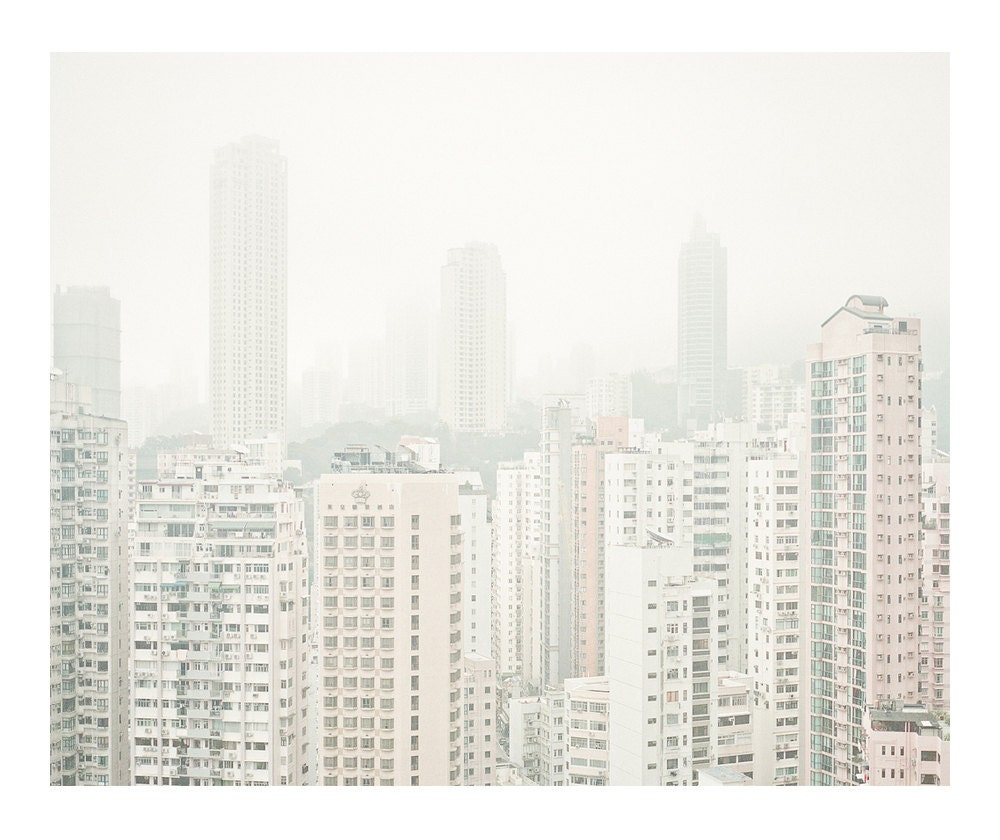 architecture . fog . city . spring - silence series - contemporary landscape photography . gradient . fading - etchedacrylics
