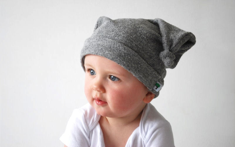 Soft grey baby hat double knot beanie cap dangling ears floppy hood cloud thoughtful baby warm fleece snuggly winter head scarf ear muffs - OliveAndVince