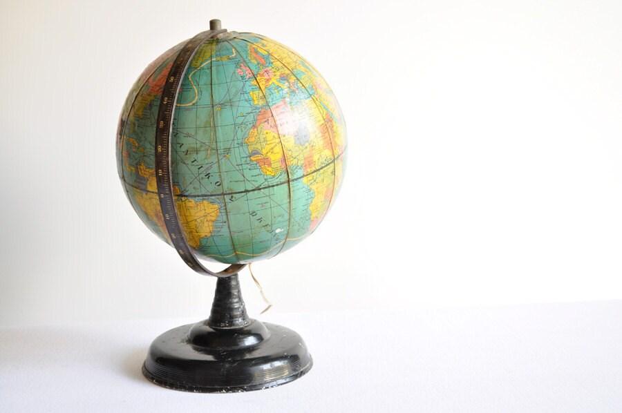 Vintage Illuminated World Globe - thelittlebiker