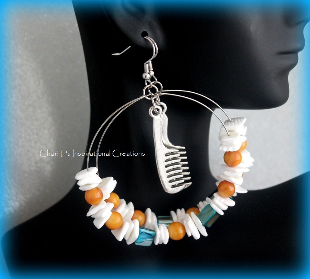 Teal White and Tan Comb Natural Hair Shell Hoops