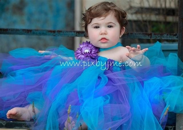 Purple and Turquoise Tutu Dress with babydoll style waist size 2T4T