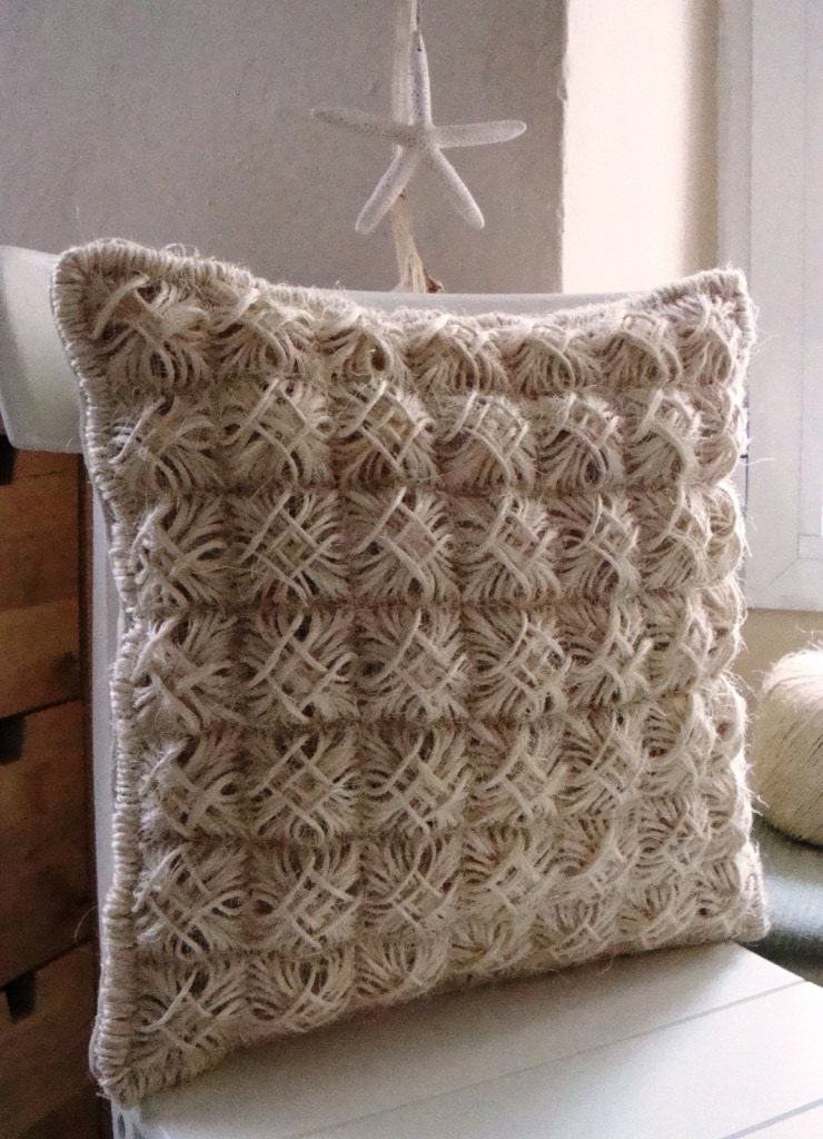 Country Needlepoint Summer Handmade Pillow Cover with Cord Creme / Ecru Squares / Shop Early for Christmas