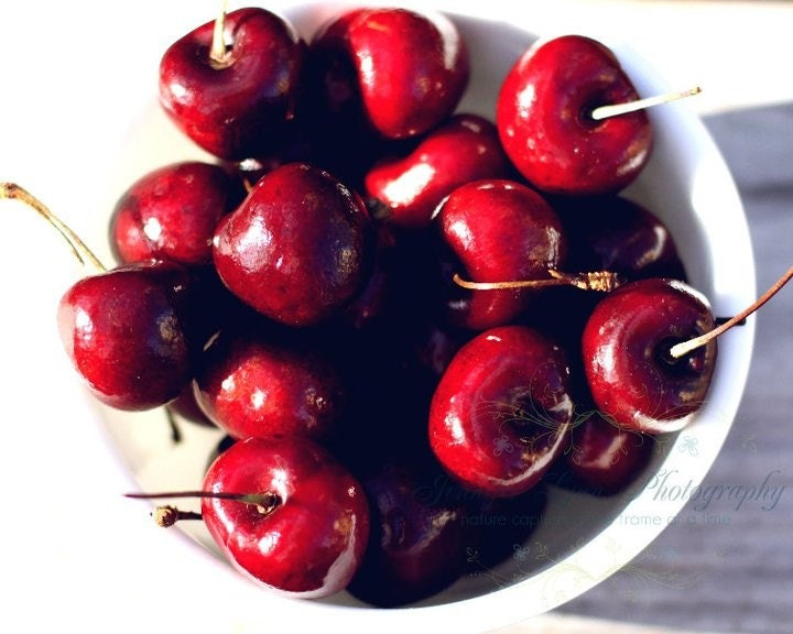 fruit photography red scarlet white black tan ivory cherry cherries / IN STOCK  / 8x10 Fine Art Photograph / Life Is