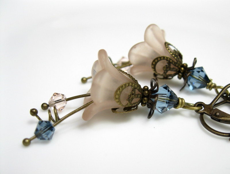 Blue, Silk, Vintage, Style, Flower Earrings