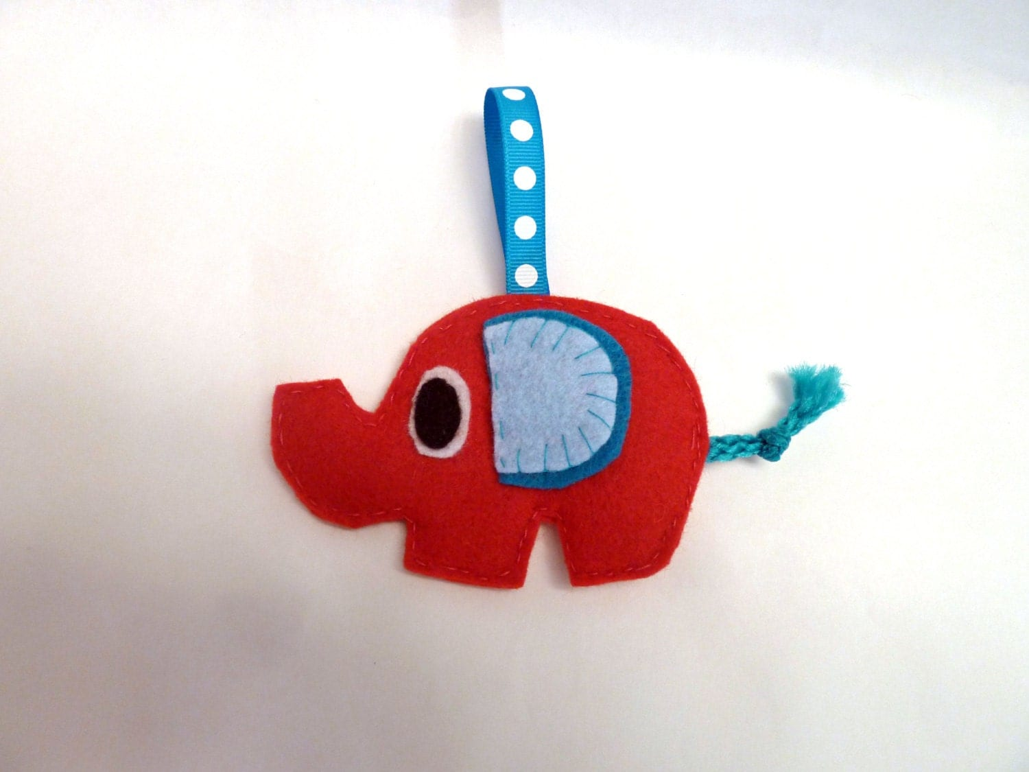 Felt Elephant Ornament- Red and Blue Cute Felt Animal - SquirrelNap