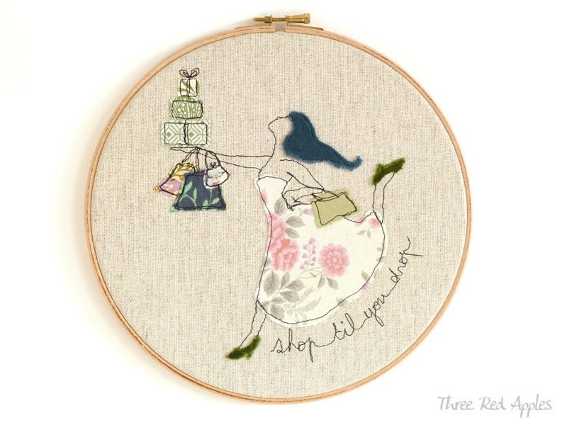 "Embroidery Textile Art in a Hoop - 'Shop 'til you drop' Whimsical Art in blue, pink & green - large 10"" hoop"