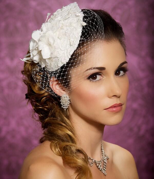 Lace Bridal Hat Bridal Hair accessory, Teardrop Fascinator, birdcage veil, wedding headpiece, cocktail hat - Made to Order - FELINA