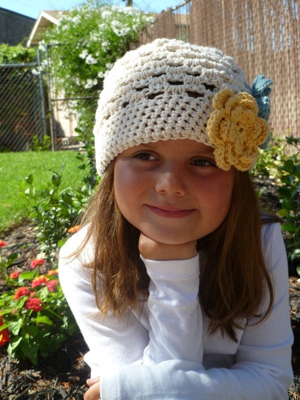 Girls Ecru Hat with Yellow and Blue Flowers - Baby/Toddler/Children