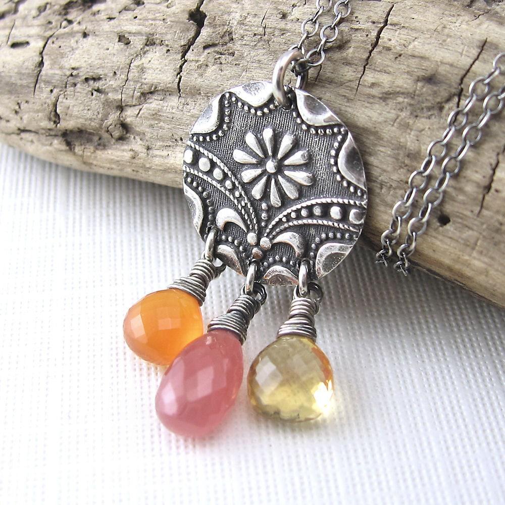 Antique Button Necklace Gemstone Carnelian Citrine Rhodochrosite Sterling Silver Designer Fashion Jewelry - Sunrise - Jennifer Casady