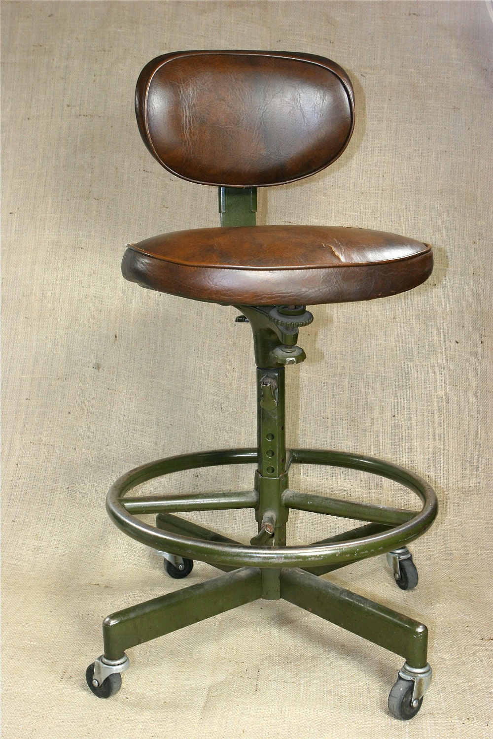 Fantastic Vintage Industrial Age Cramer Adjustable Swivel Drafting Machinist Stool - BarnAndBox
