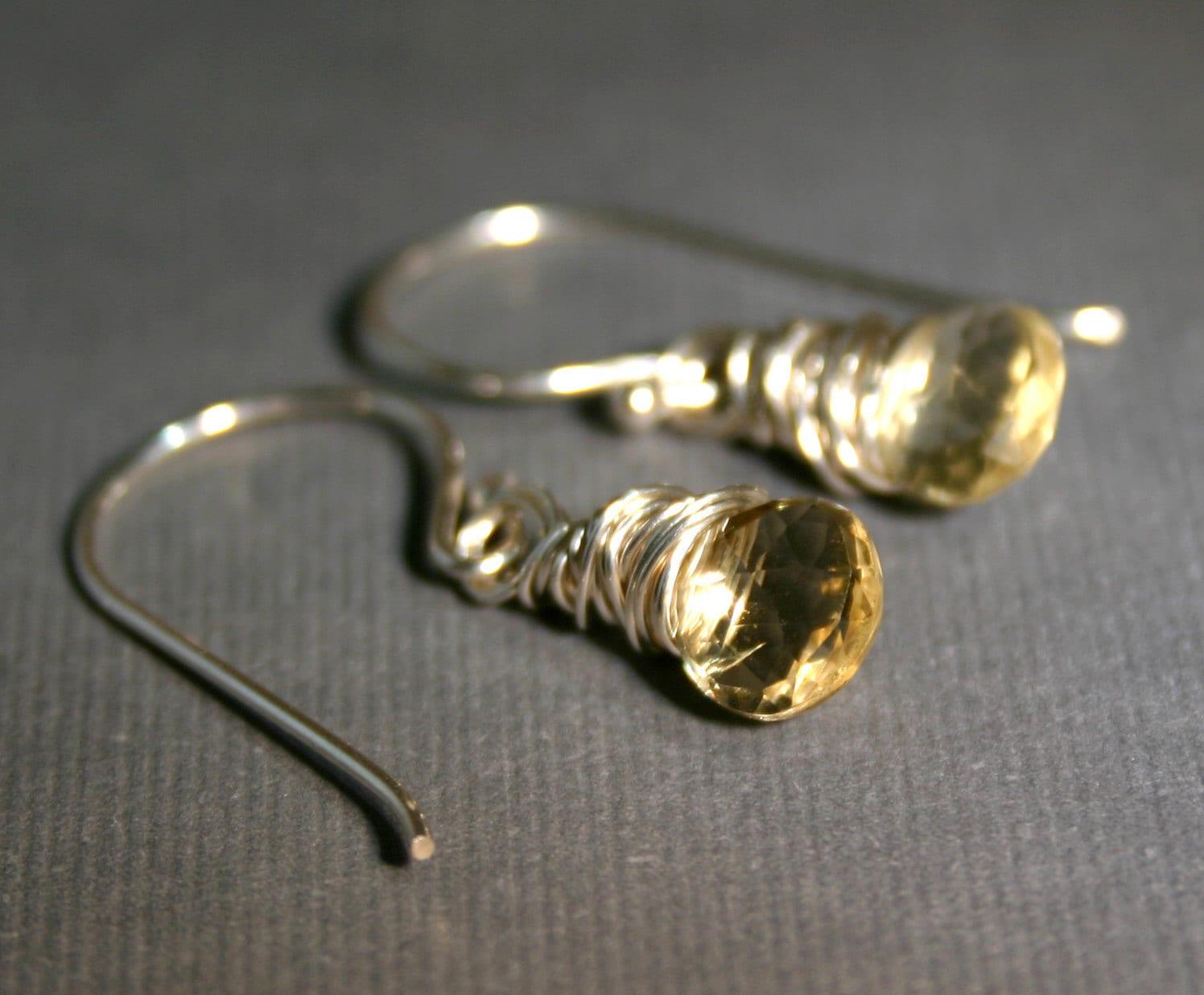 Citrine Gemstone Briolette Earrings in Sterling Silver