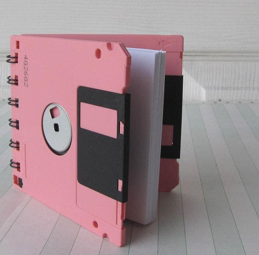 Geek Gear Floppy Disk Notebook Pink Recycled Blank Mini