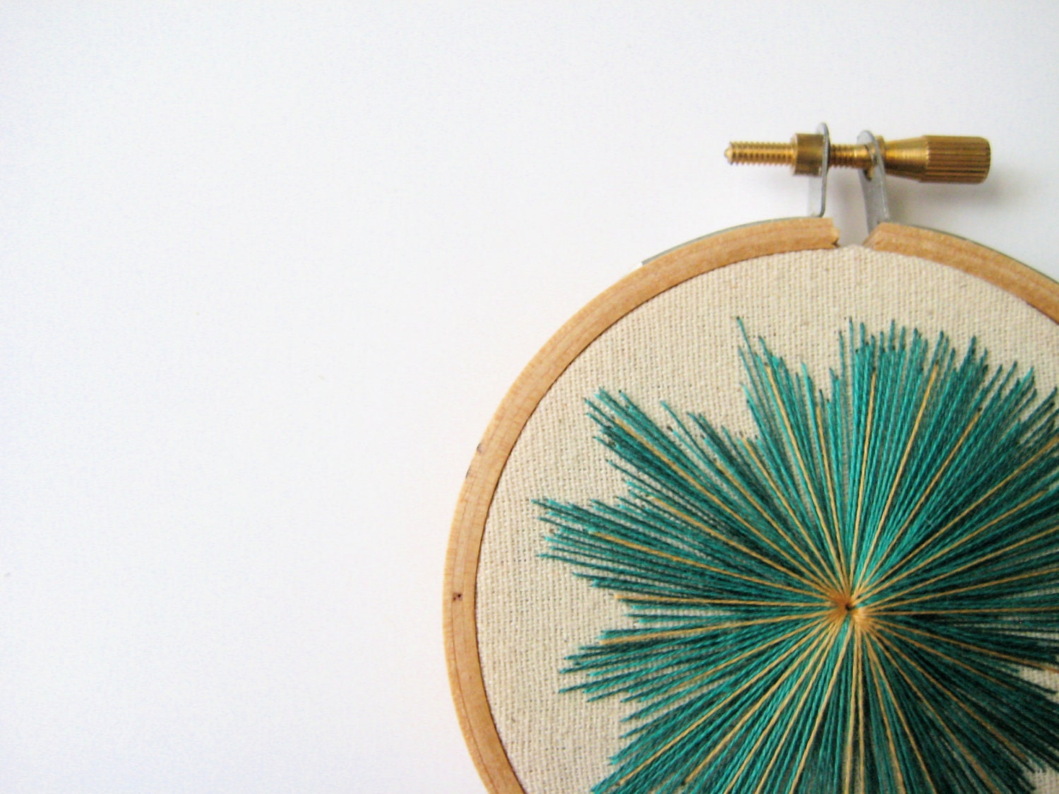 Teal, Blue and Gold Starburst Embroidery Hoop Art - IFeltFuzzy