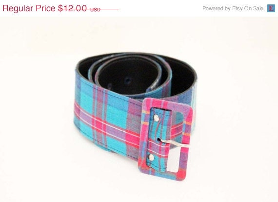 SALE --- 80s Blue, Teal, Pink Plaid Wide Waist Belt  - XS / S - paisleyfacevintage