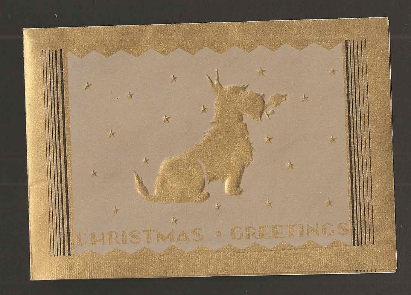 1930s-1940s Scottie Dog Christmas Card