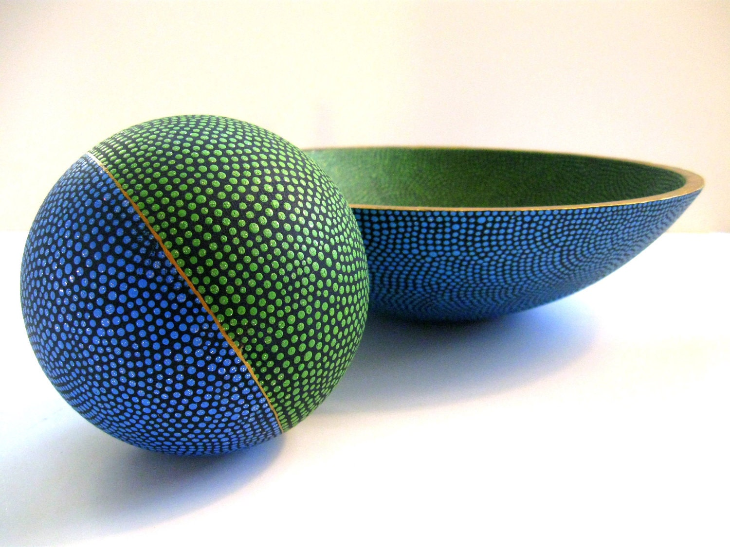 Earth Blue and Green: Hand Painted Bowl and Orb - PearlesPainting
