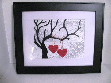 SALE- Personalized Tree Silhouette Art- Wedding, Valentine's Day, Anniversary- custom text background 2 personalized hearts