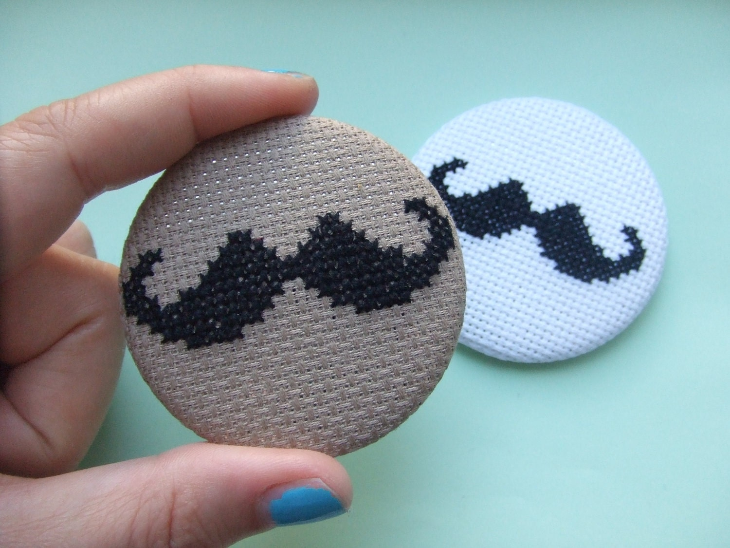 Moustache Button Badge Hand Sewn in Cross Stitch Available in Cookie Brown or White