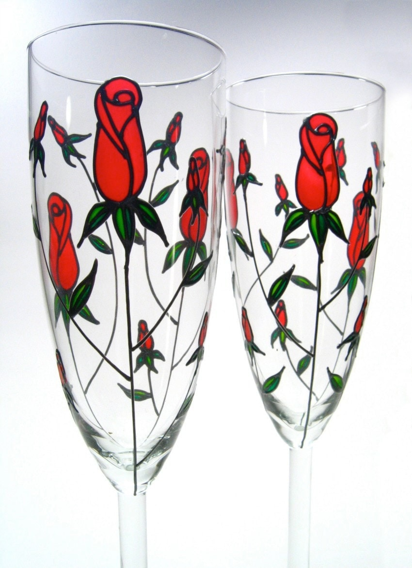 Custom Wedding Wine Glasses Canada : Winter Wedding Flutes, Custom Champagne Glasses, Red Roses, Set of 4