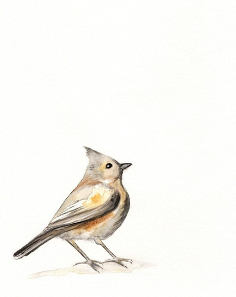 A Song of Ascent / Brown / Yellow /  Gray / Bird Watercolor print - kellybermudez