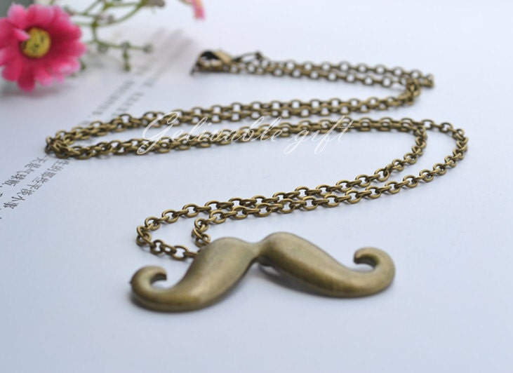 Antique Brass Unisex Beard Mustache Necklace,steampunk Beard Mustache pendant NMS01