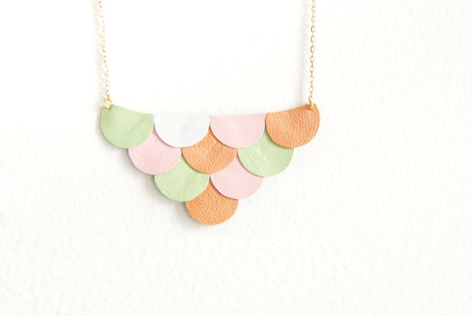 LAST ONE - Leather Scallop Petals Necklace - Pastel Spring Garden - Made to Order - AmprisLoves