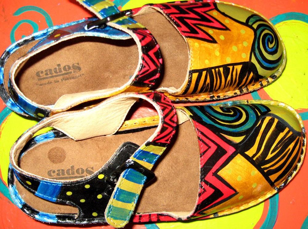 Hand painted leather Mary Jane Sling Back shoe european size 38