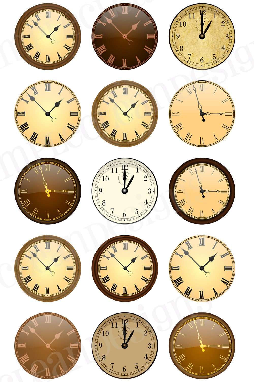 Antique Vintage Clocks Digital Collage Sheet 4x6 Printable Bottlecap Images no.83 - SimpleCleanDesigns
