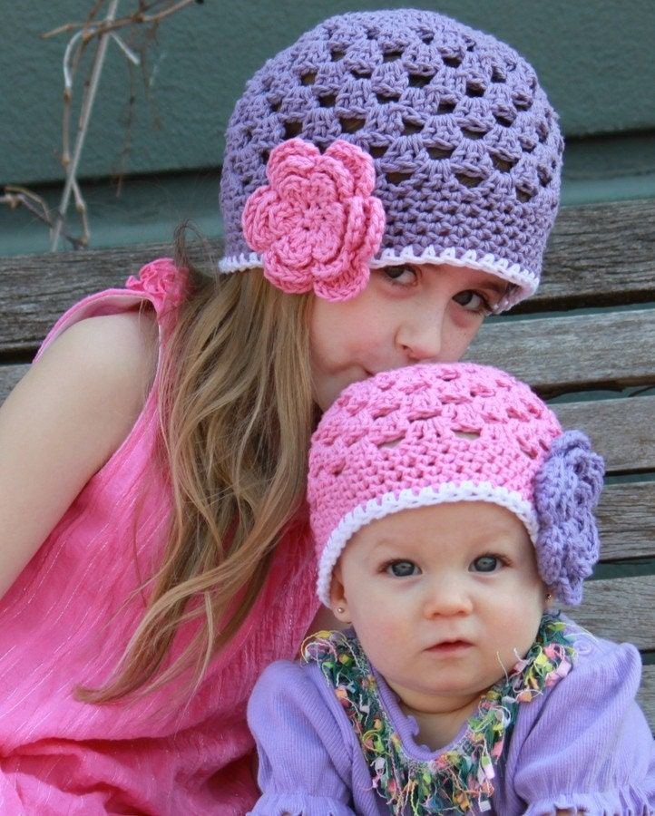 Sister Hat Set - Pink and Purple Beanies - Baby Toddler Children - Crochet