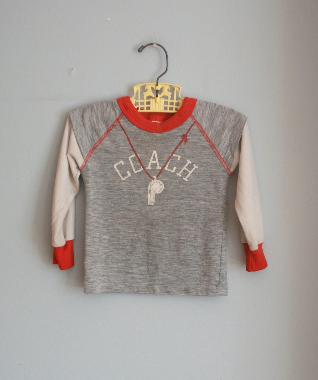 70s RETRO COACH Boys Top.....size 3T boys....kids. children. retro. sweater. sweat shirt. top. boho. sports. jersey. ball. play - retroandme