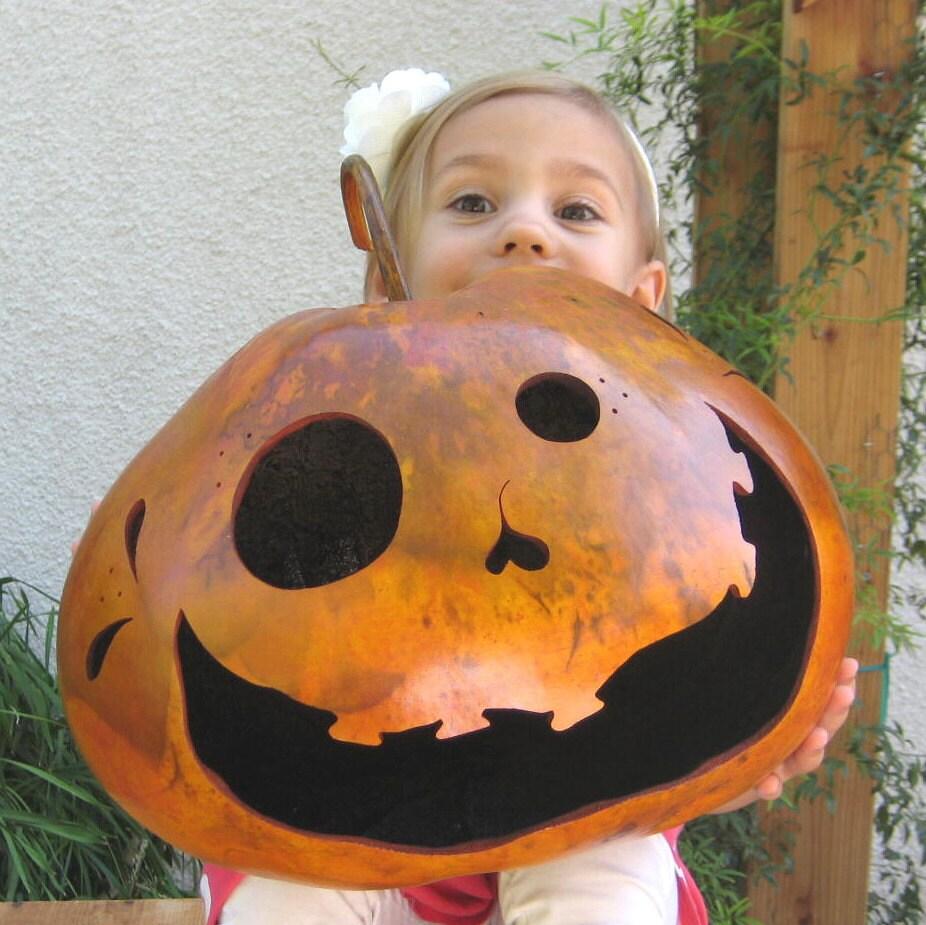 Halloween Gourd Jack O Lantern Natural Fall Harvest Spooky Pumpkin Candy Bowl Decoration - pinchmeboutique