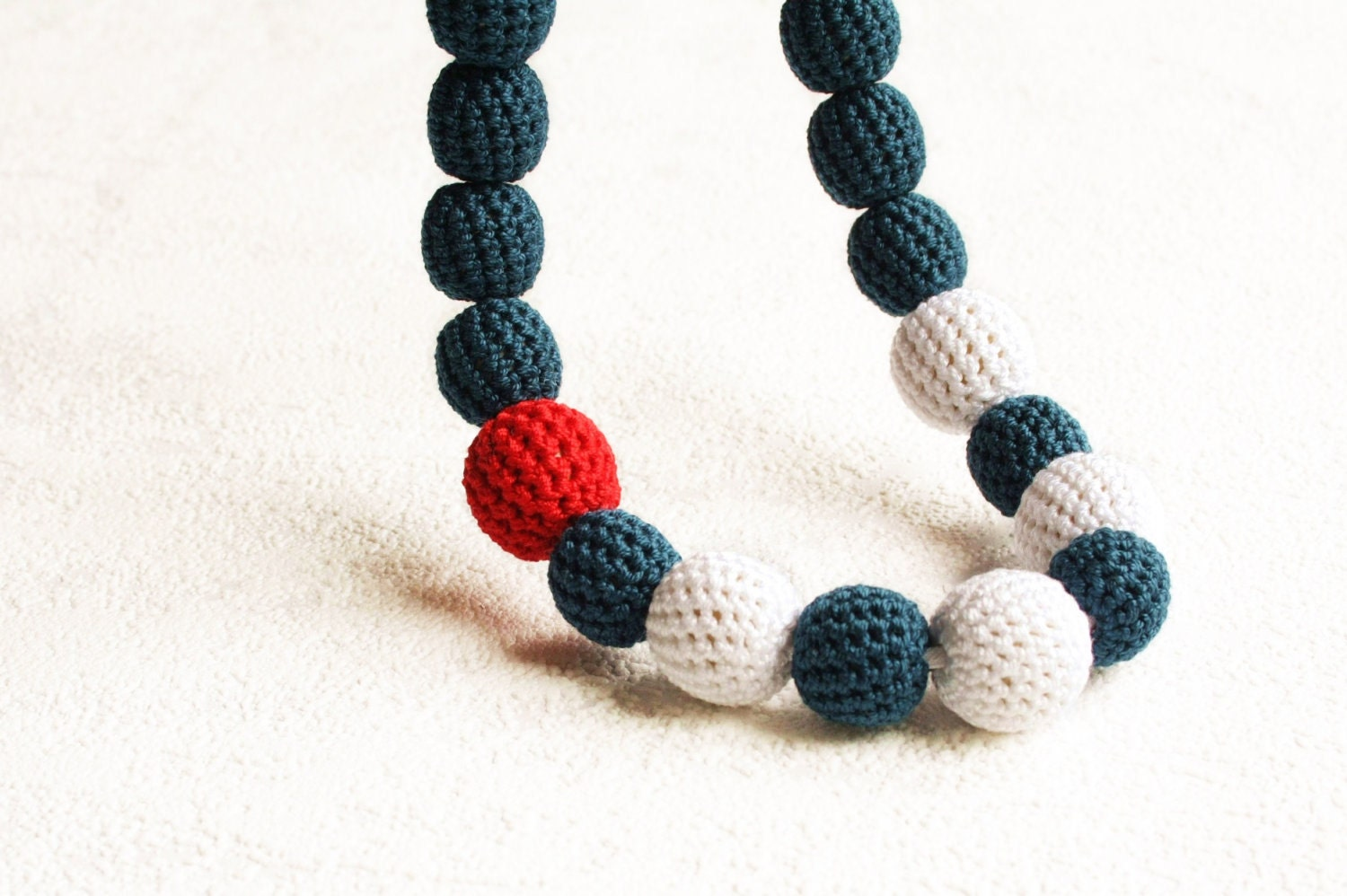 crochet sailor ethnic big necklace - handmade bead necklace in navy blue, white and red - XauXau