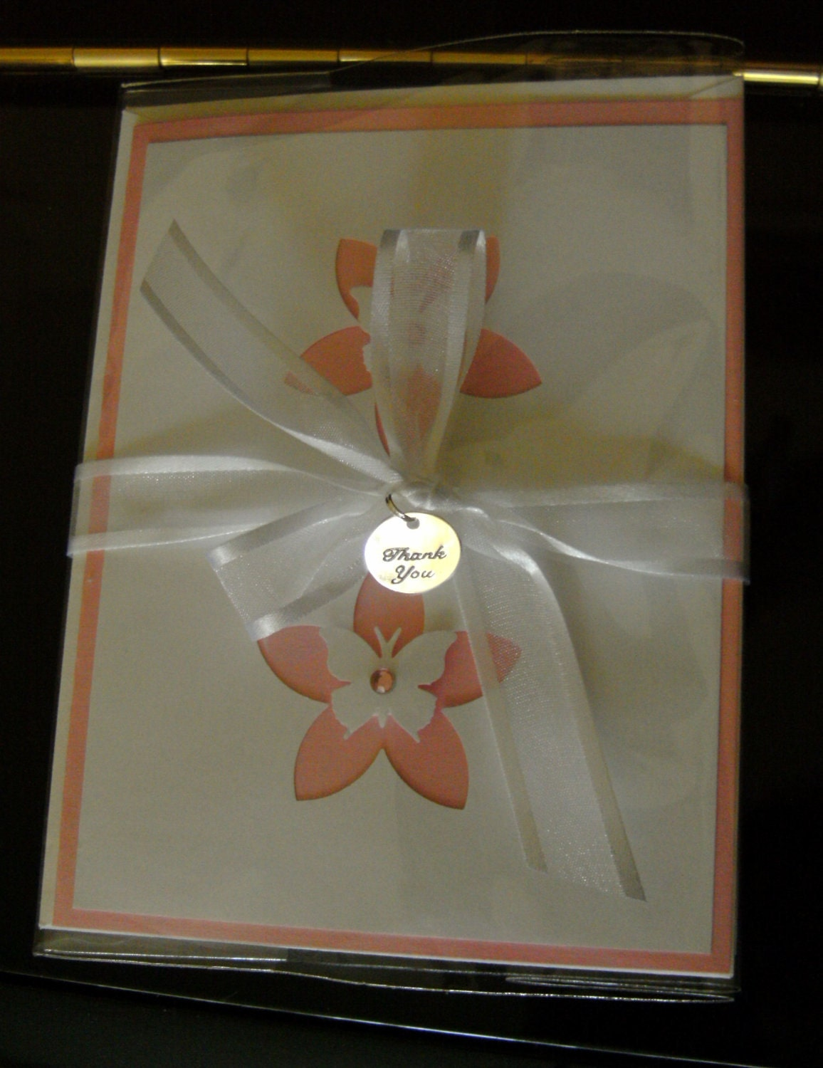 Handmade Card Set of 2 Butterfly Pastel Pink