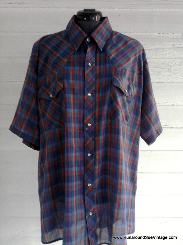 CLEARANCE - Vintage Men's WESTERN Shirt - Short Sleeve, Purple, Red, Teal, Blue Plaid XL