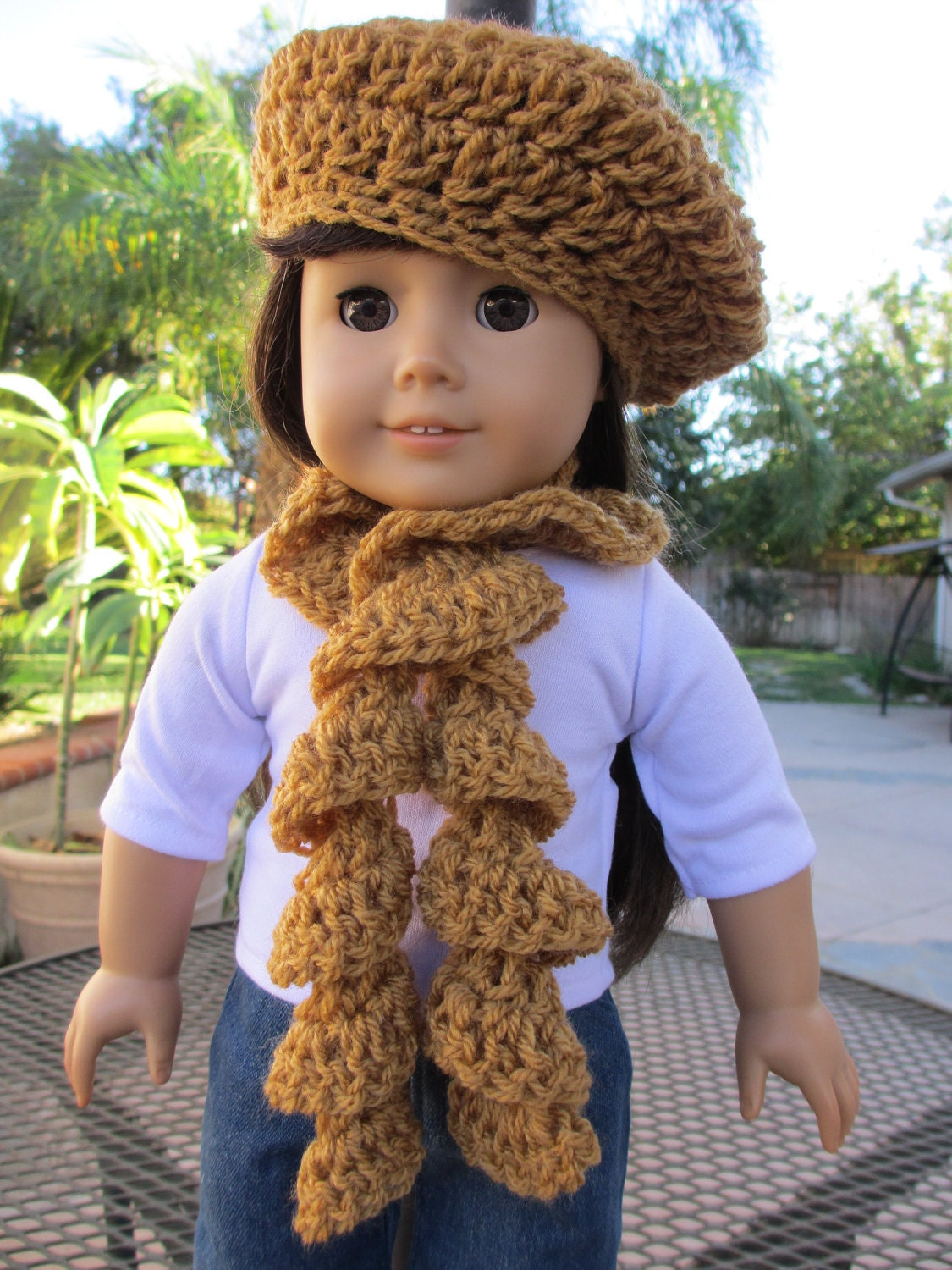 "Crocheted Beret Hat and Spiral Scarf Set Dijon Mustard fits American Girl and 18"" Dolls"