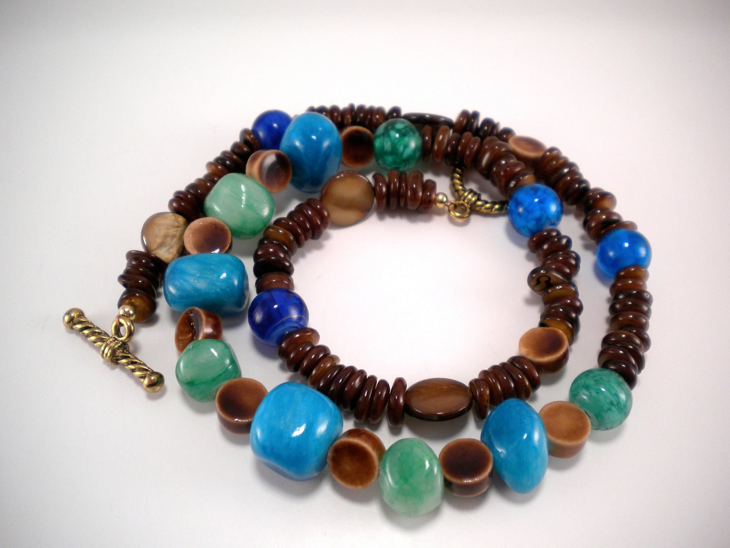 Teal and Tiger's Eye Hannah Necklace