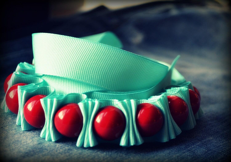 Children  Darcie Ribbon Necklace - Cherry Red and Dreamy Aqua -  Twillypopgirl