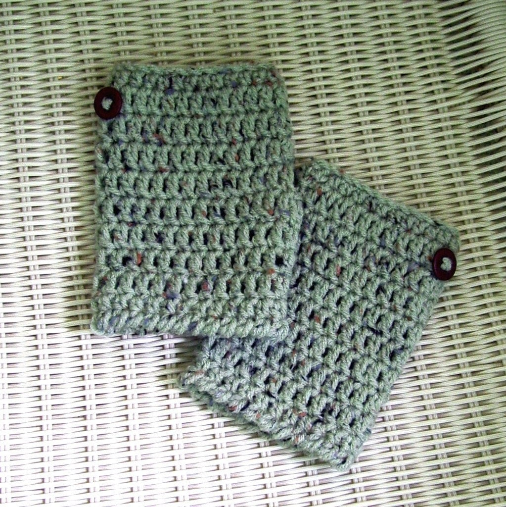 Fingerless Gloves Crocheted Green Fleck